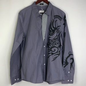 Coofandy Button Down Long Sleeve Graphic Men's